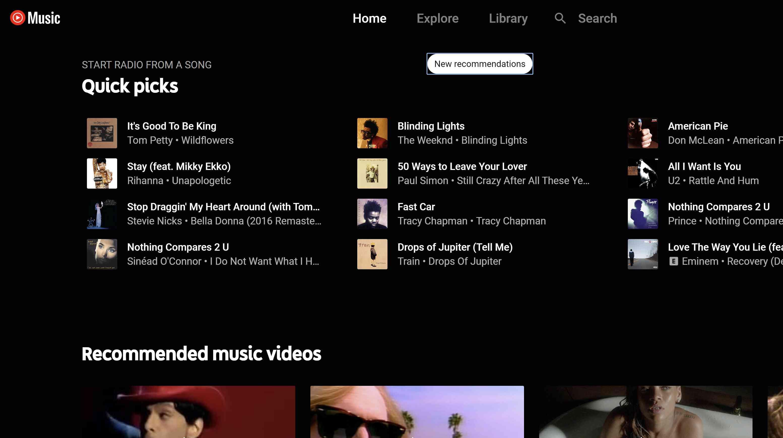 YouTube Music homepage.