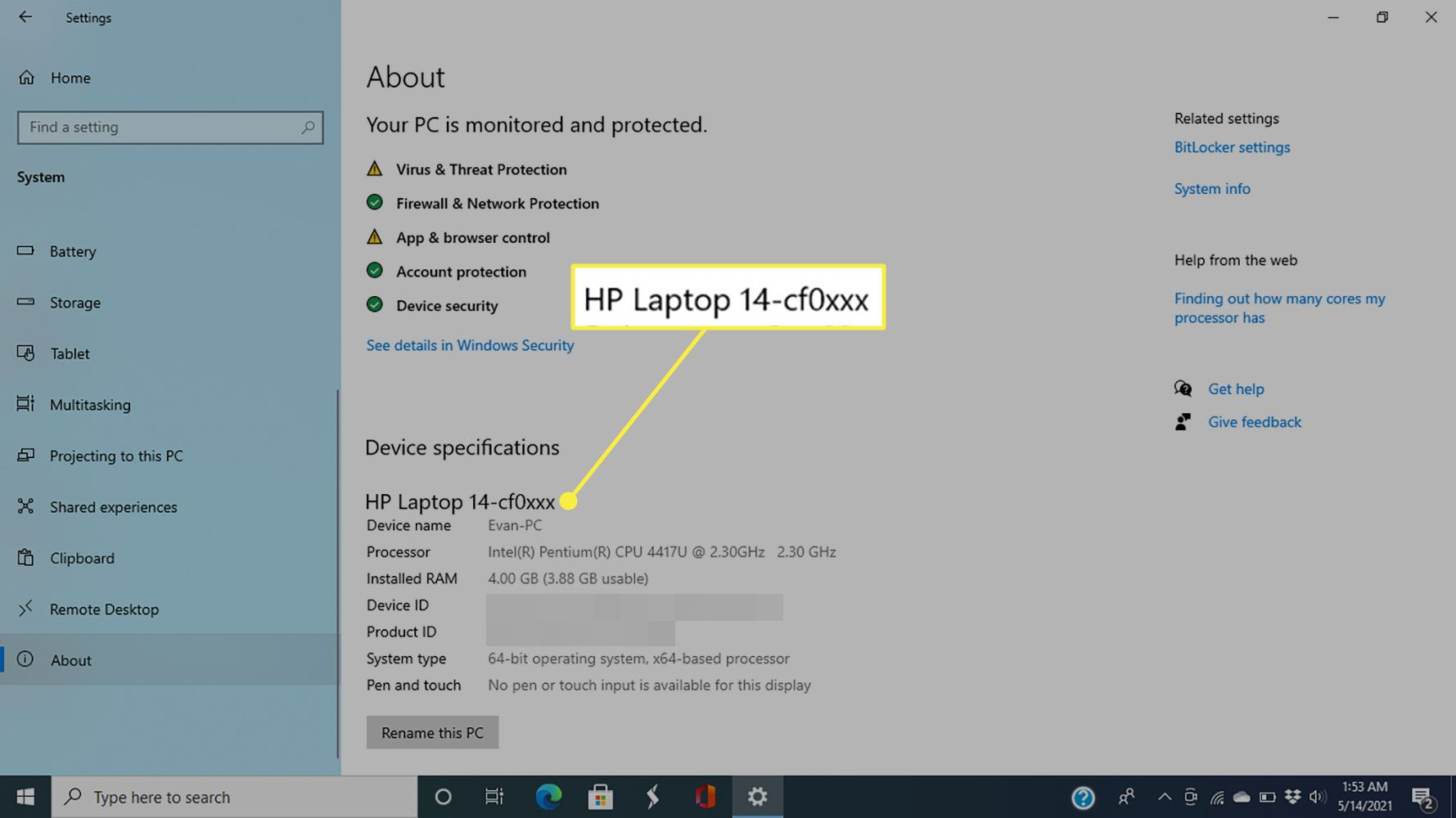 The model number of an HP laptop on the Windows 10 About screen