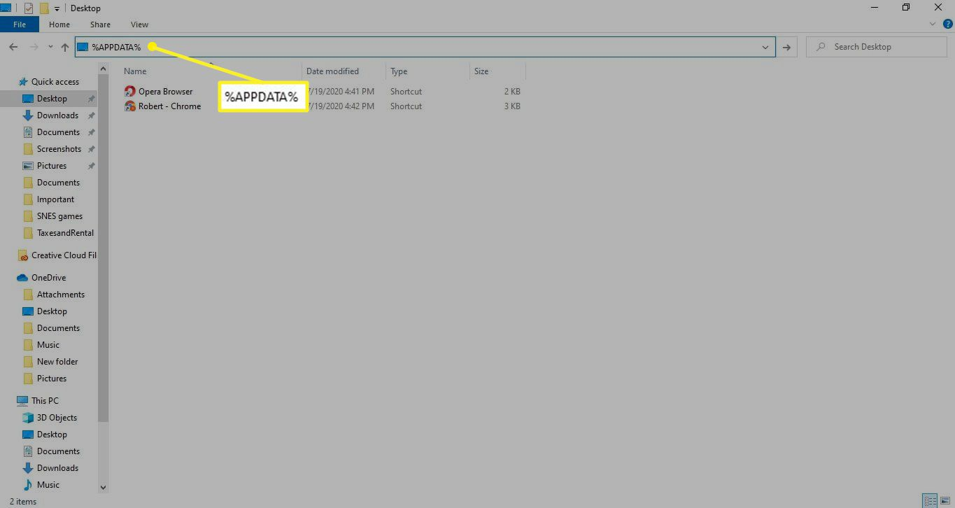 Windows File Explorer with %APPDATA% in the address bar