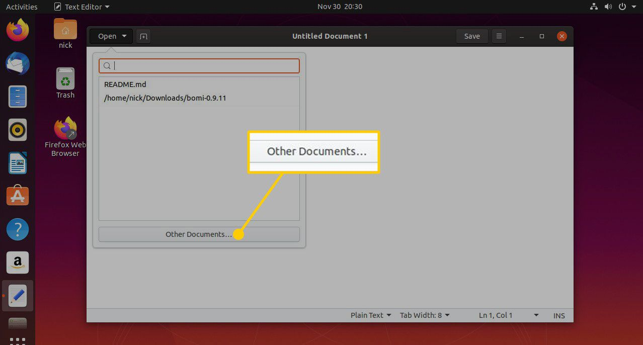 Other Documents button in gEdit