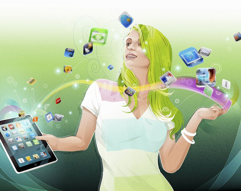 Illustration of woman holding iPad with app icons flying out of the tablet