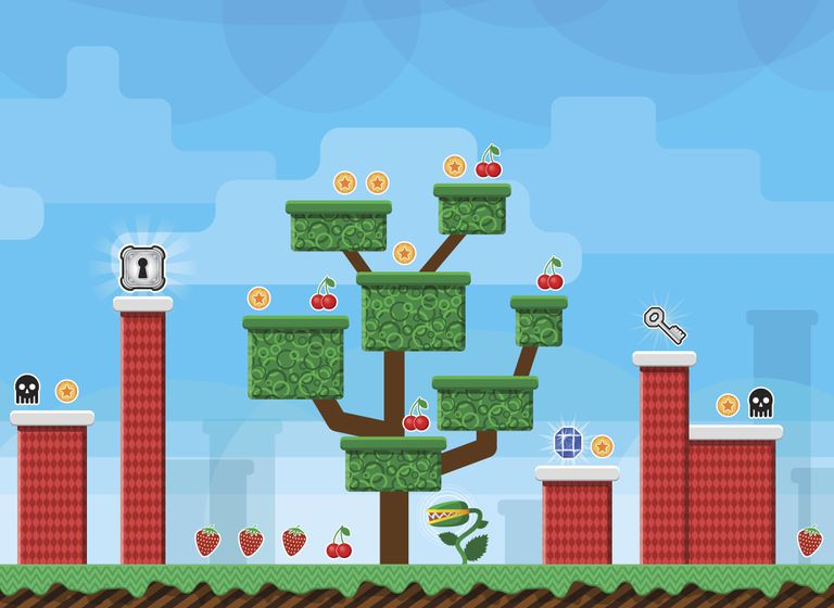 Tree and platforms in platform video game
