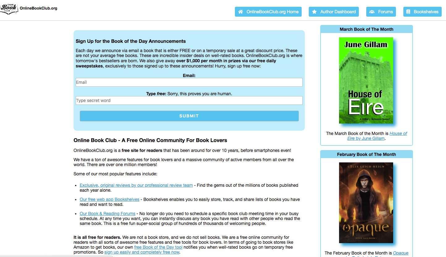Screenshot of Online Book Club book-centered social site