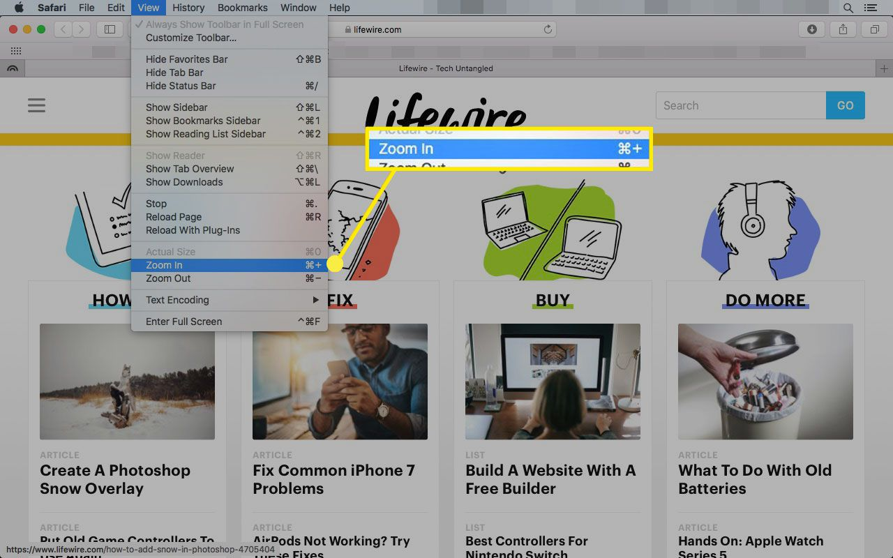 Safari on a Mac with the Zoom In command highlighted