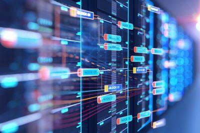 Server room illustration with nodes