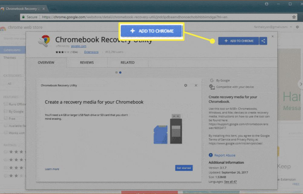 The Chromebook Recovery Utility on the Google Play Store. 'Add to Chrome' is highlighted.