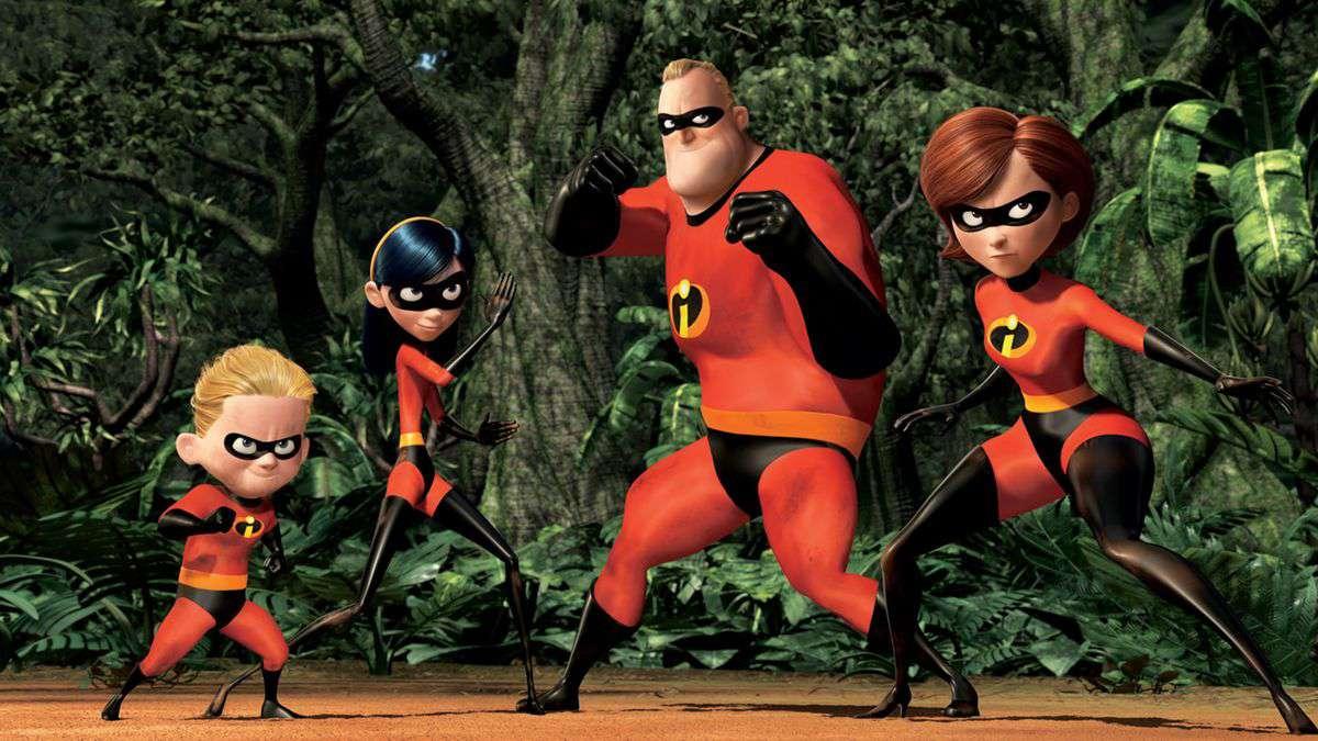 Dash, Violet, Mr. Incredible and Elastigirl strike a pose in The Incredibles (2004)