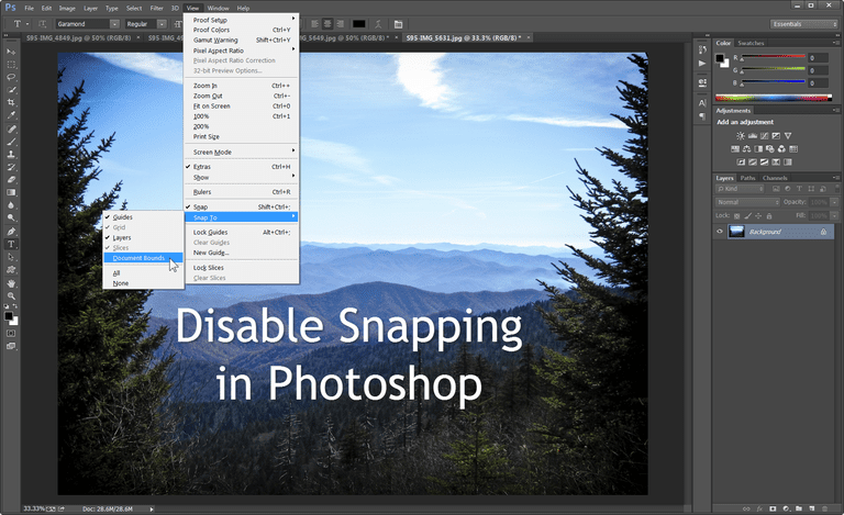 Photoshop Snap To Document Bounds