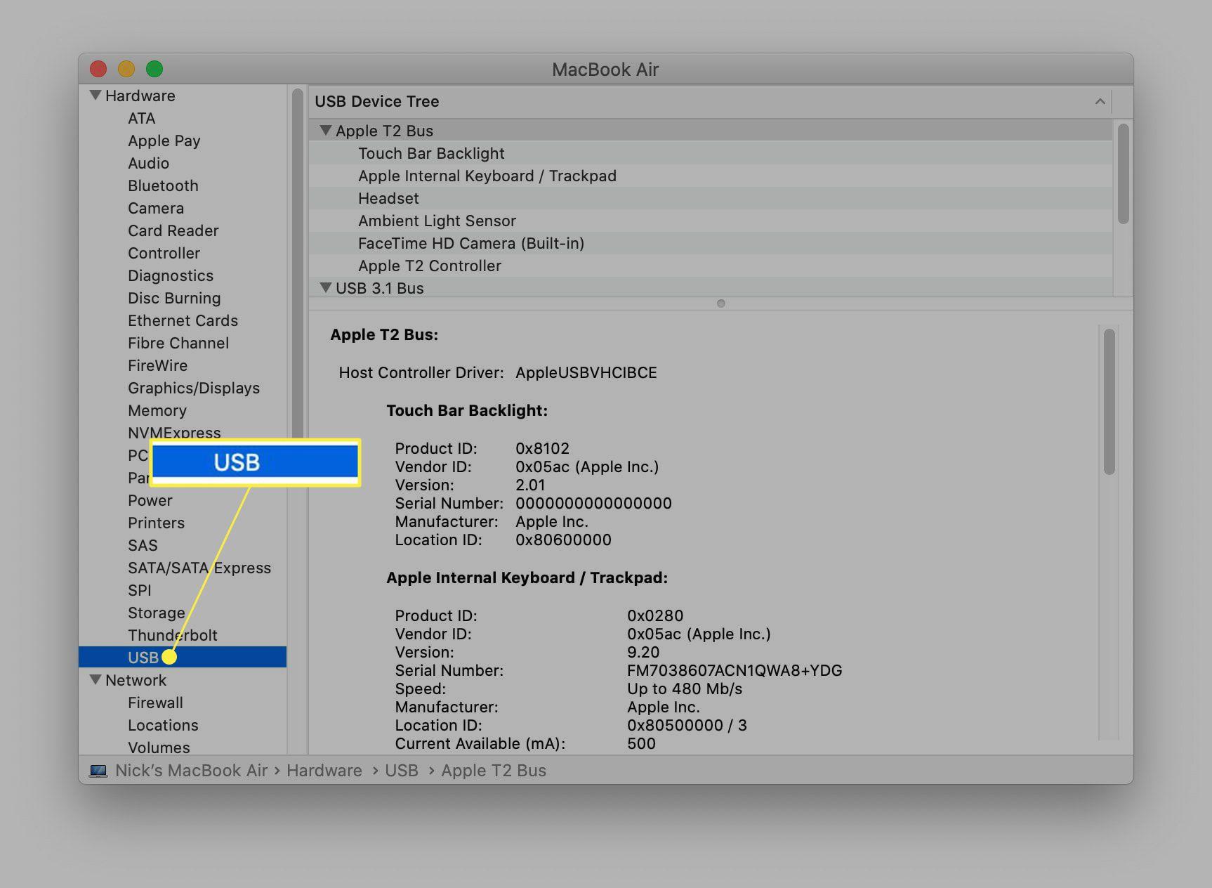 USB highlighted under MacBook System Information.