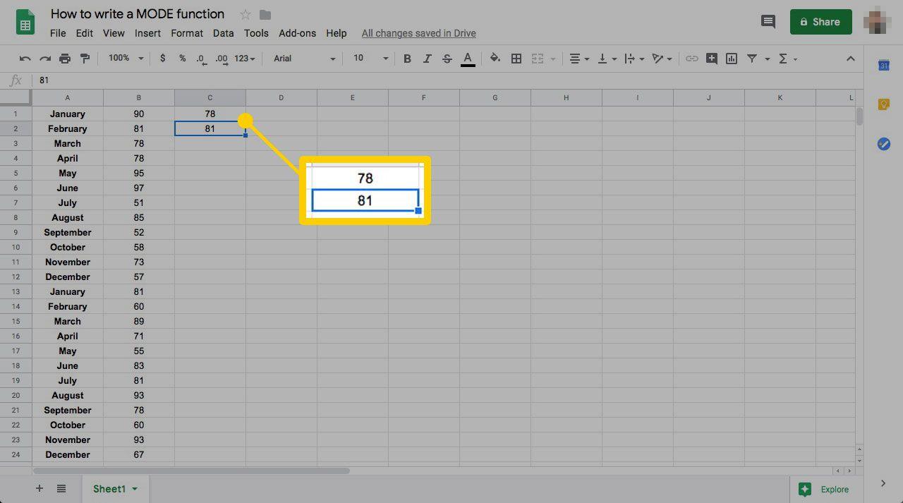 Google spreadsheets MODE function