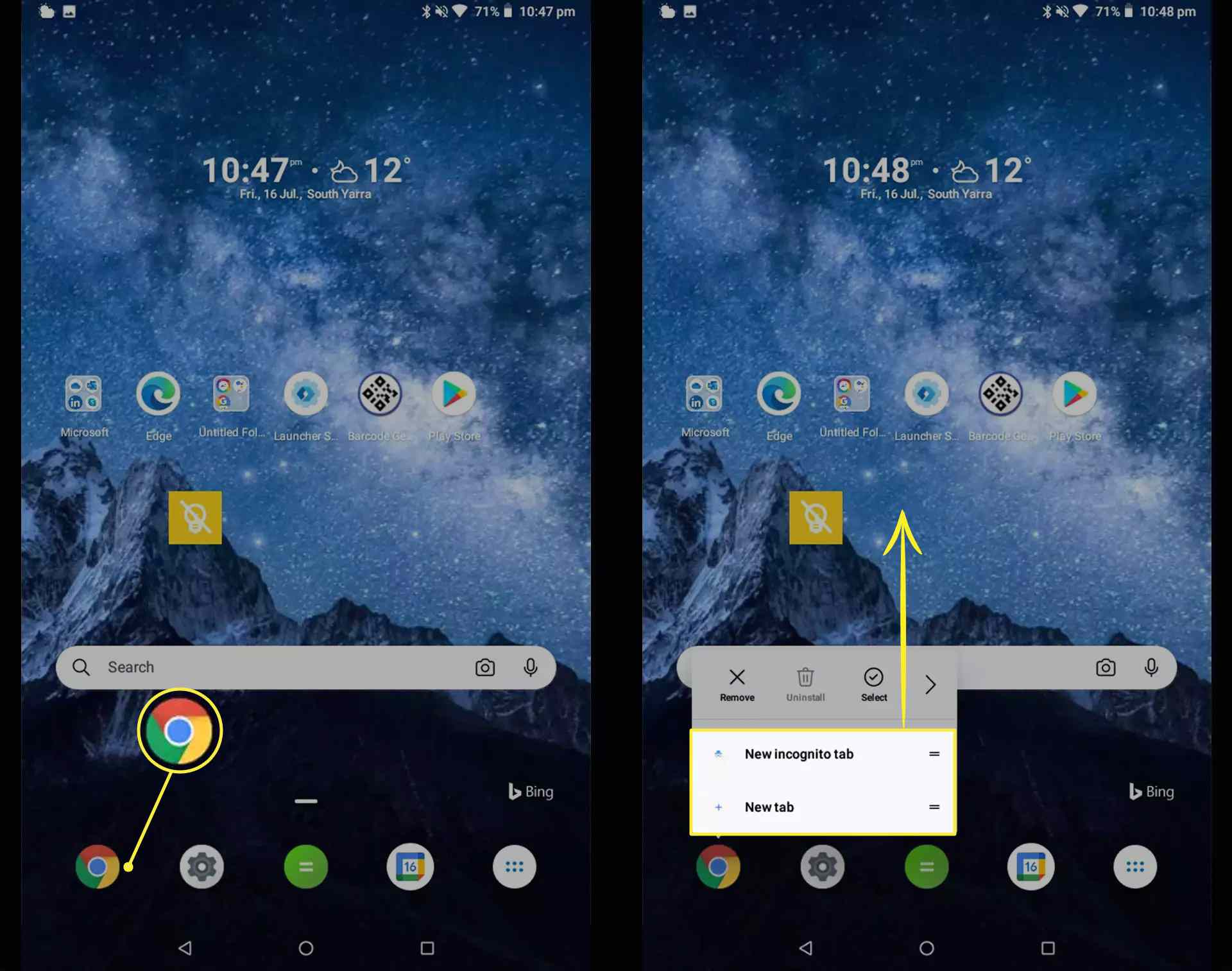 Google Chrome icon and shortcut options on Android home screen