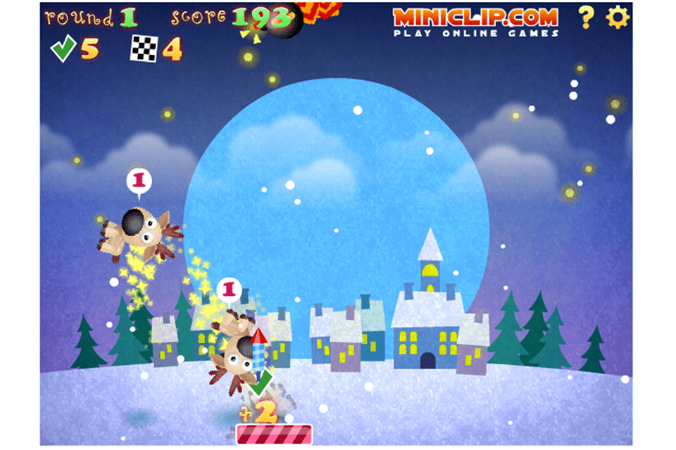 Screenshot of the Reindeer Bounce free online Christmas game