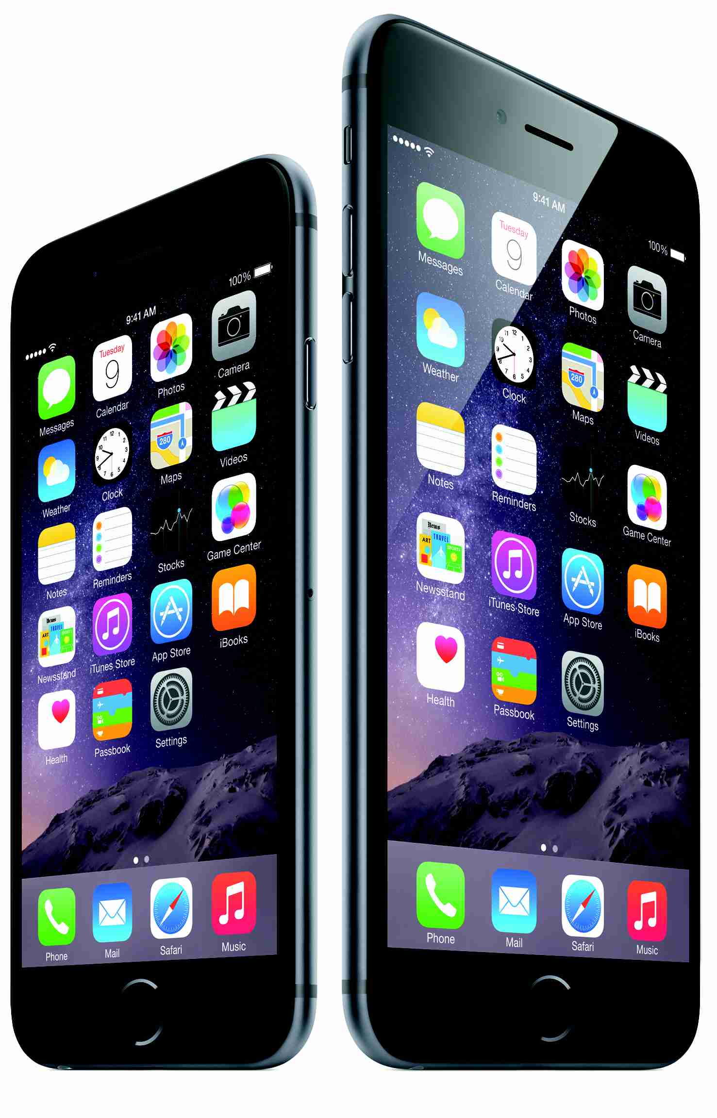 iPhone 6 and 6 Plus side by side