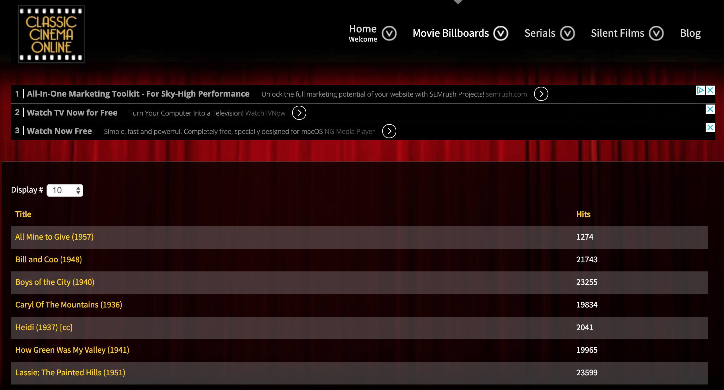 Classic Cinema Online web site