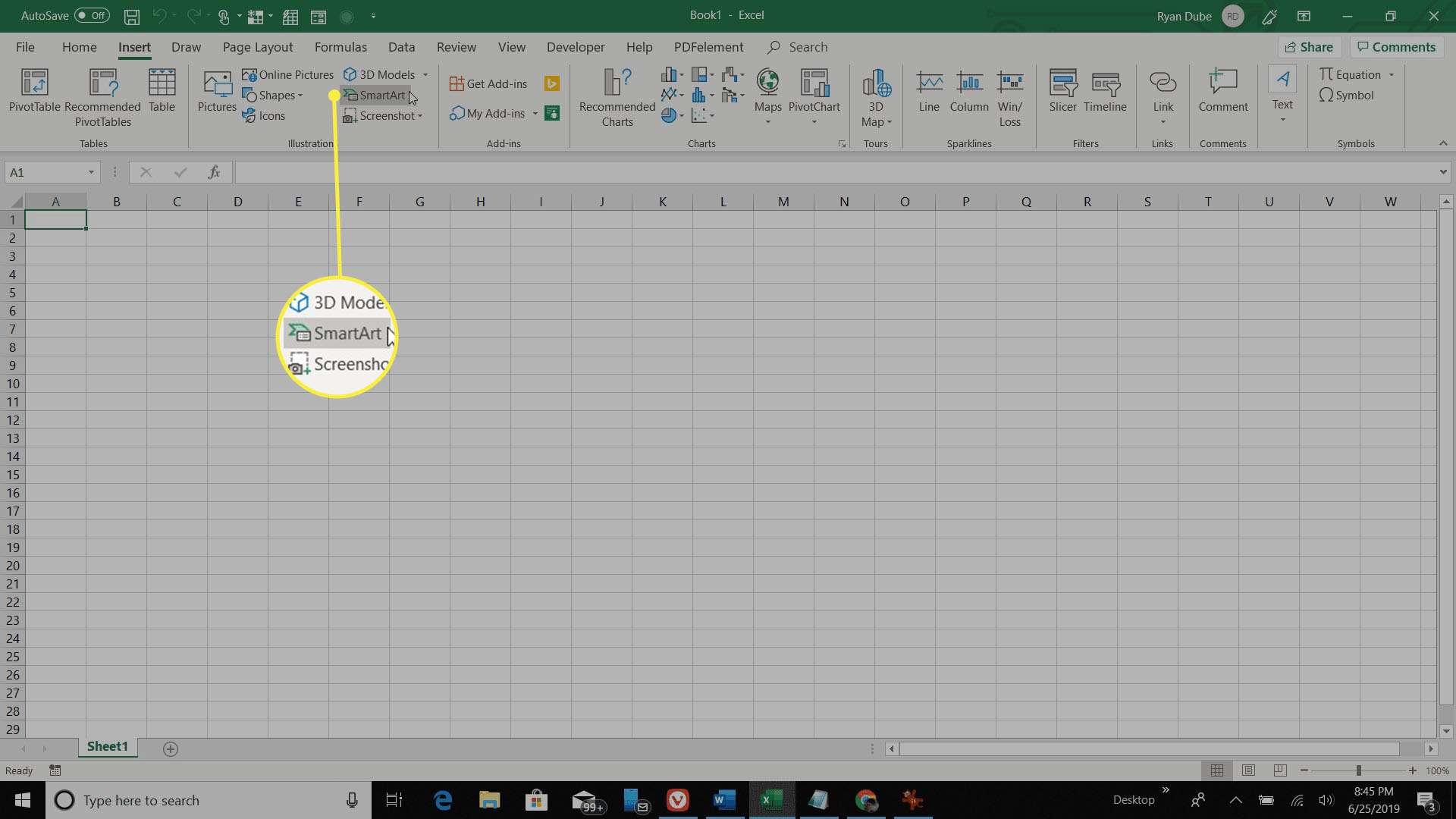 selecting SmartArt in Excel