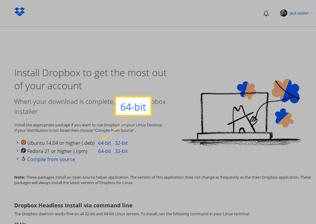 Screenshot of the 64-bit install button.