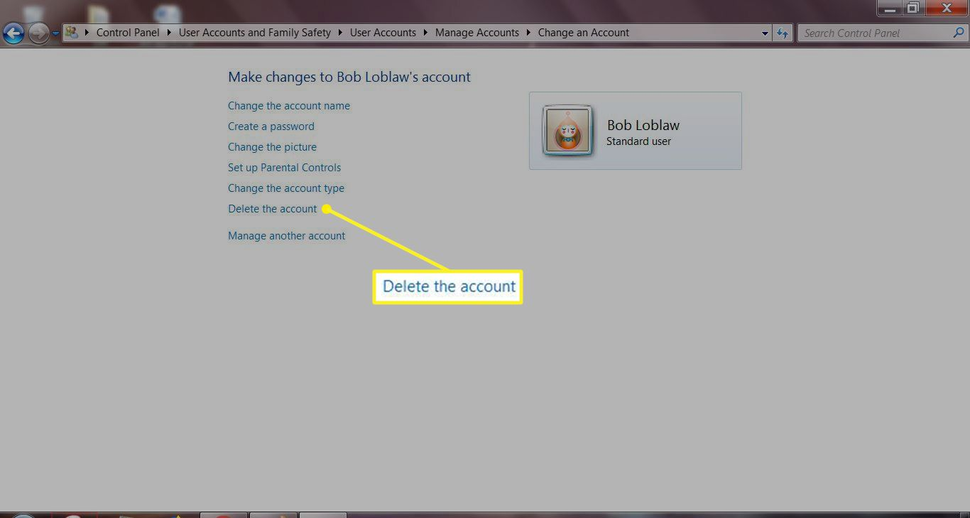 Account management screen with Delete the account highlighted