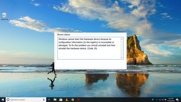 Code 19 error on Windows 10 desktop