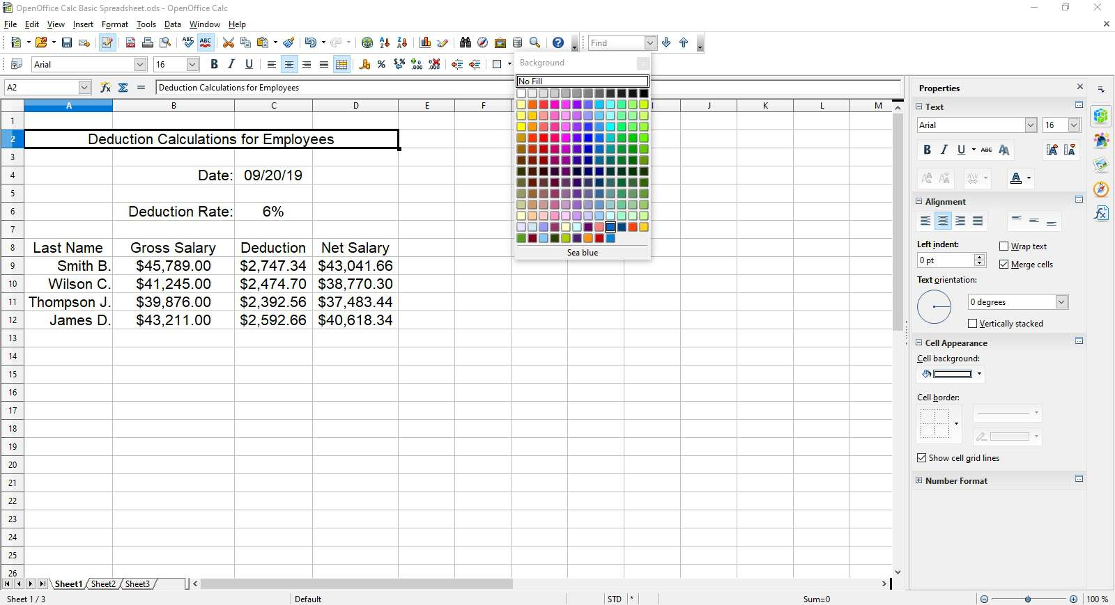 Setting the spreadsheet title to sky blue background in OpenOffice Calc.