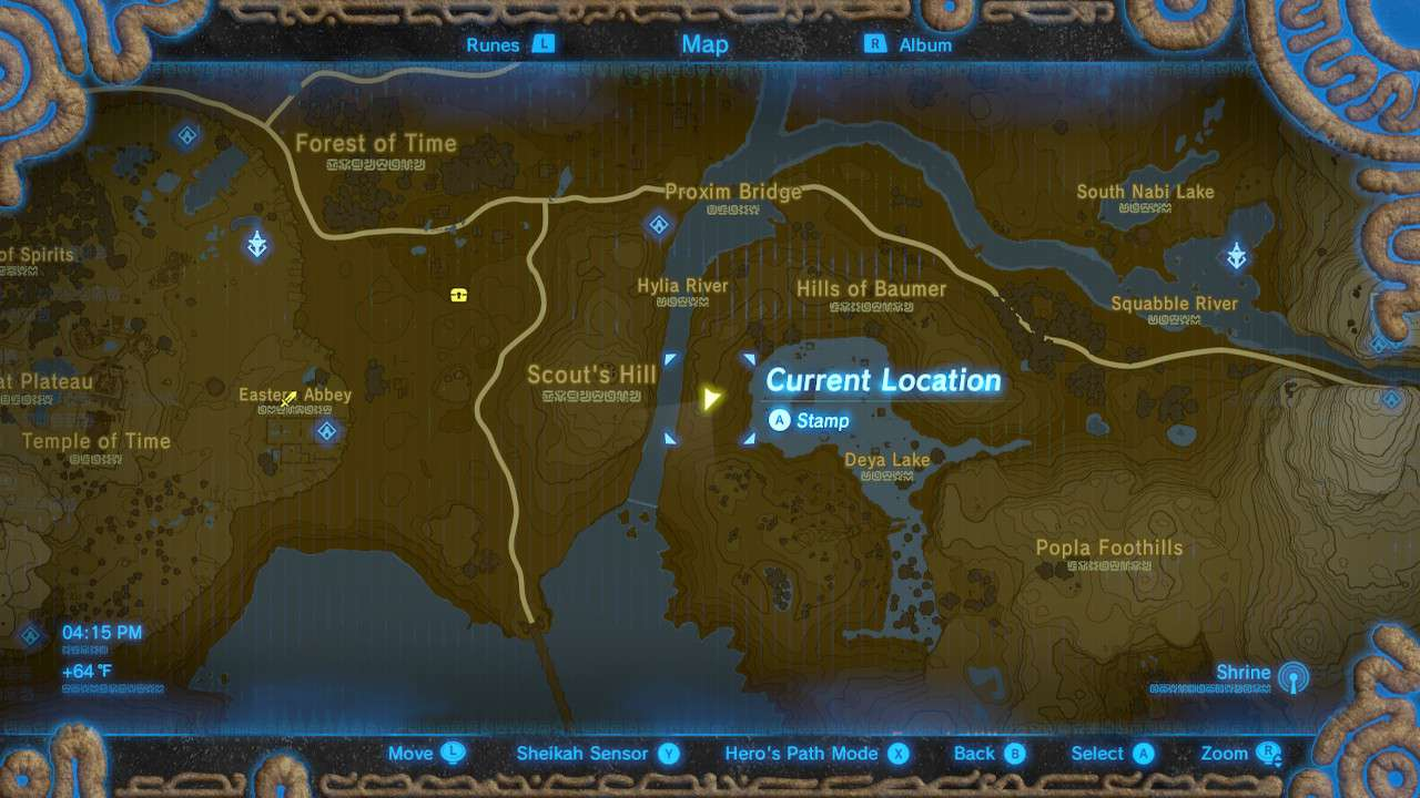 Map of Scout's Hill in The Legend of Zelda: Breath of the Wild.