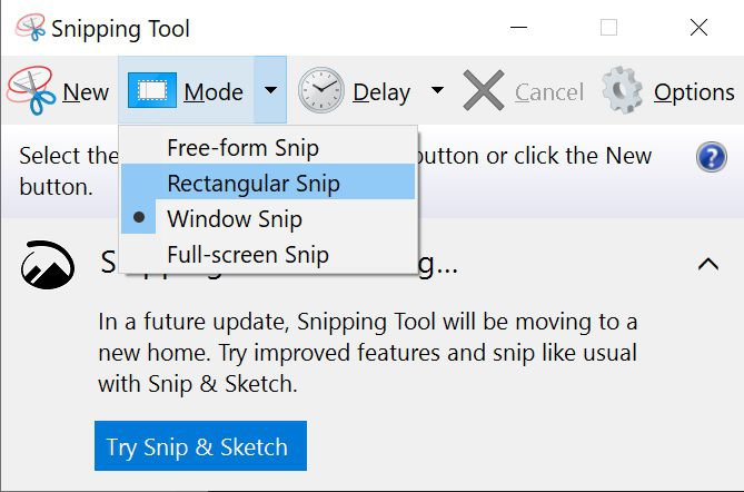Modes available in Snipping Tool