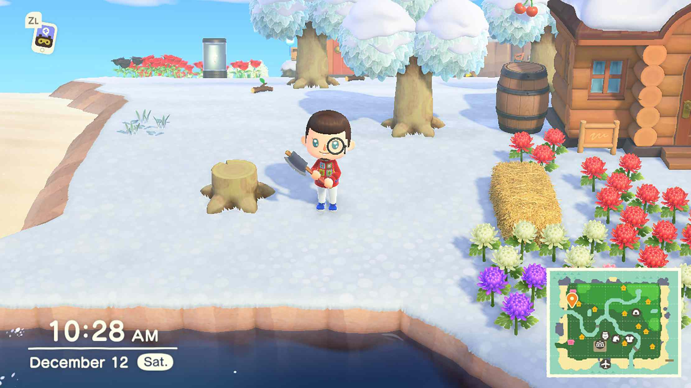 Screenshot of Animal Crossing New Horizons character with a tree stump