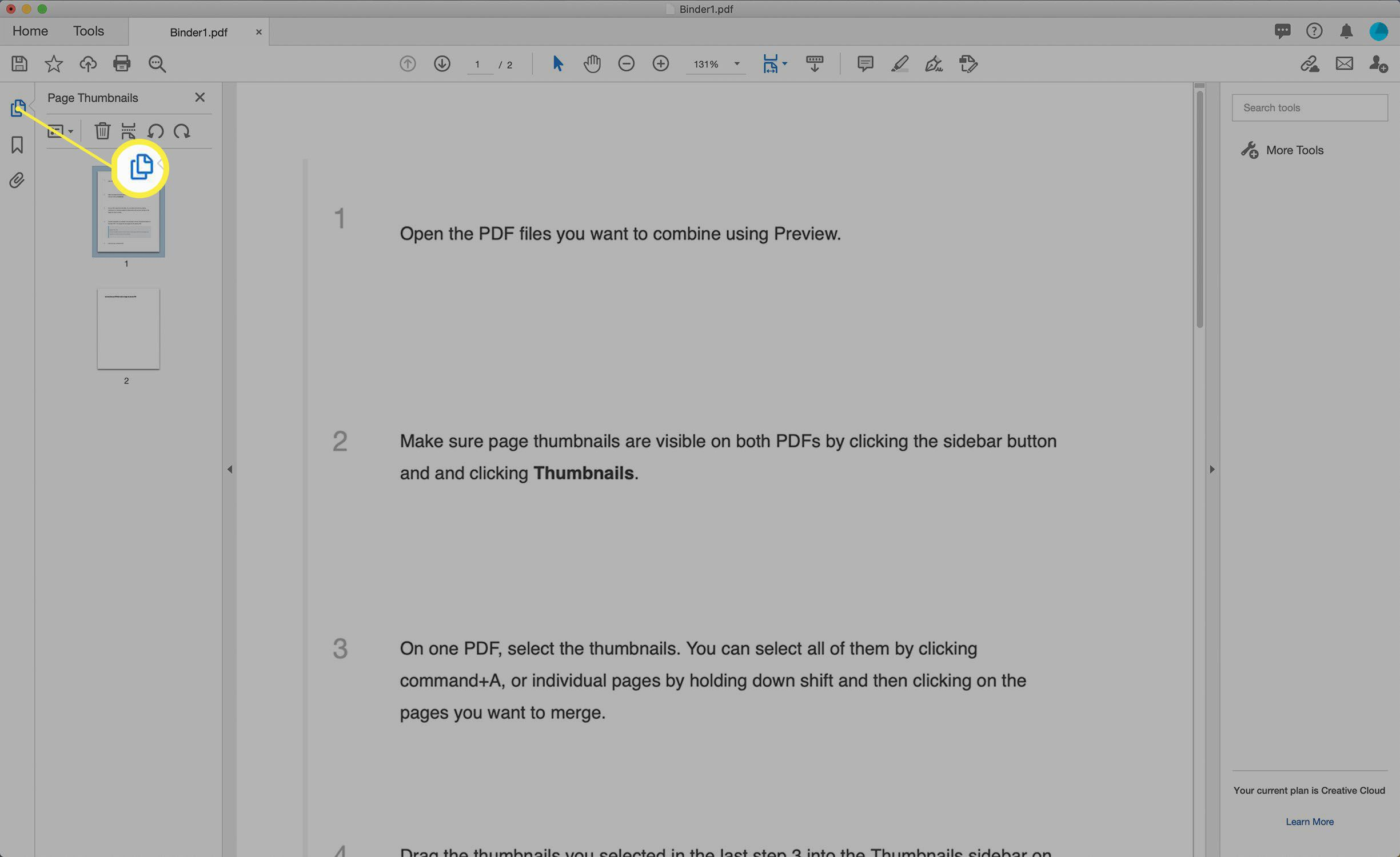 Screenshot of the Page Thumbnails view of a PDF in Adobe Acrobat.