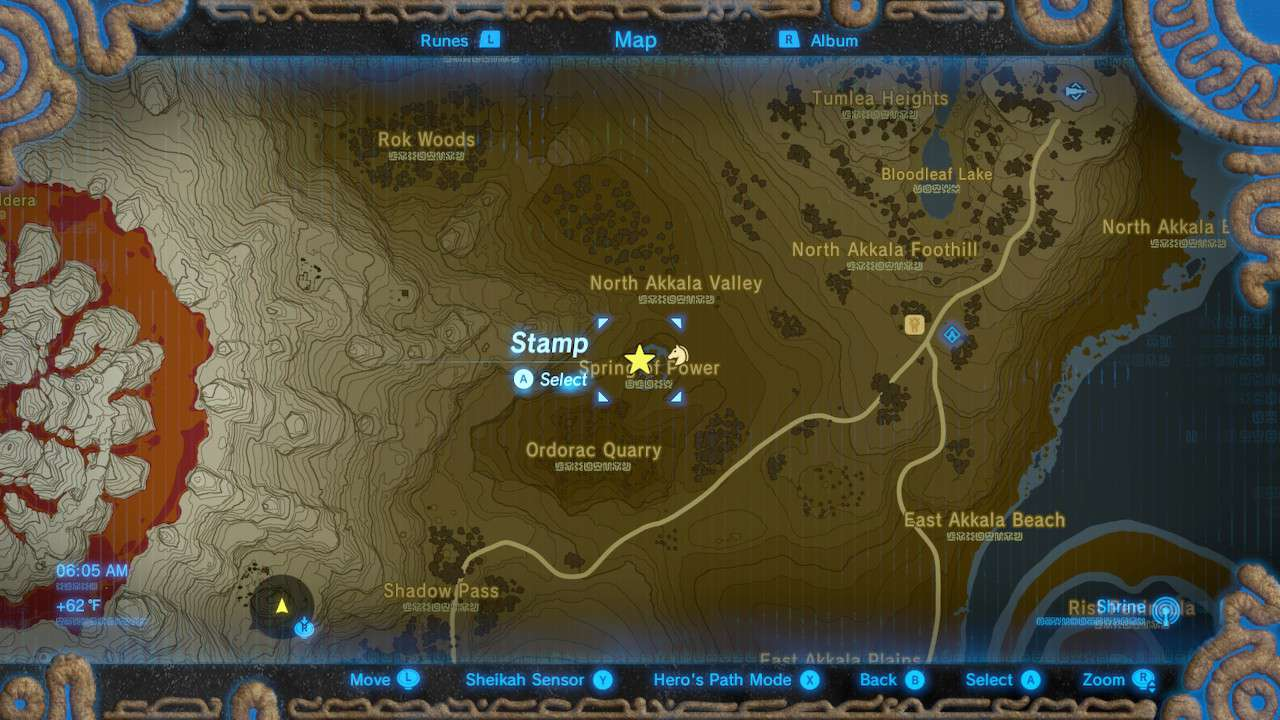 Map of Spring of Power in The Legend of Zelda: Breath of the Wild.