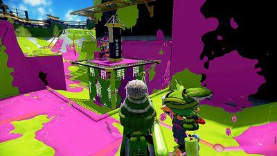 A colorful scene from Nintendo's Wii U game Splatoon