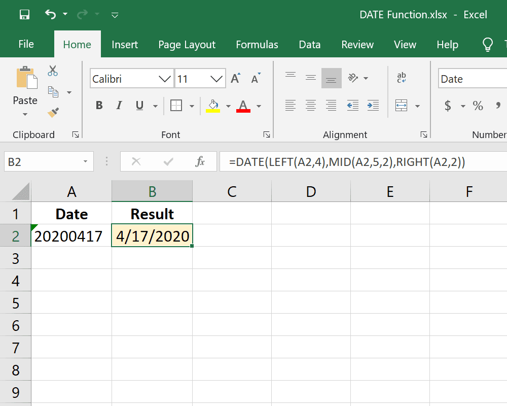 Excel DATE function reformatting a cell
