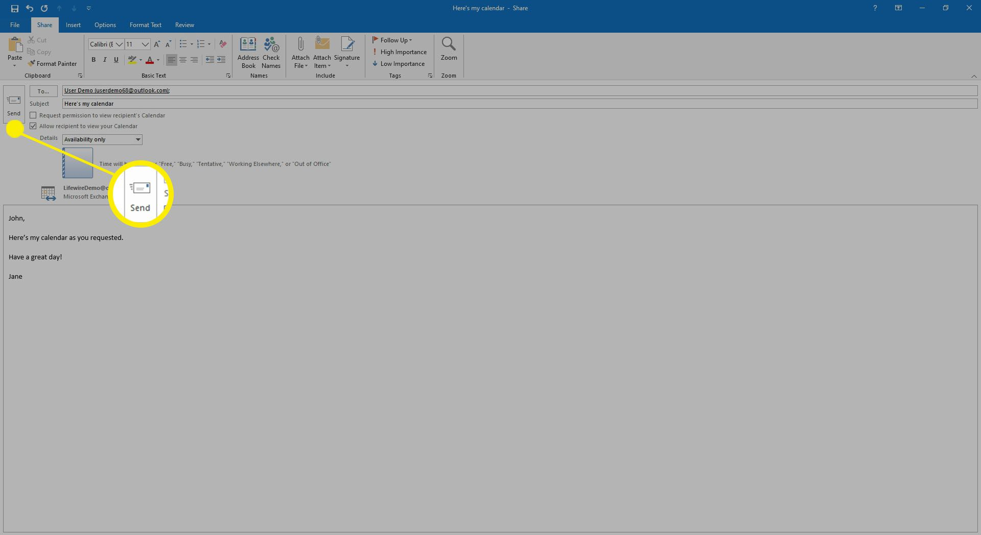 Entering in a message to go with the calendar sharing invitation in Outlook.
