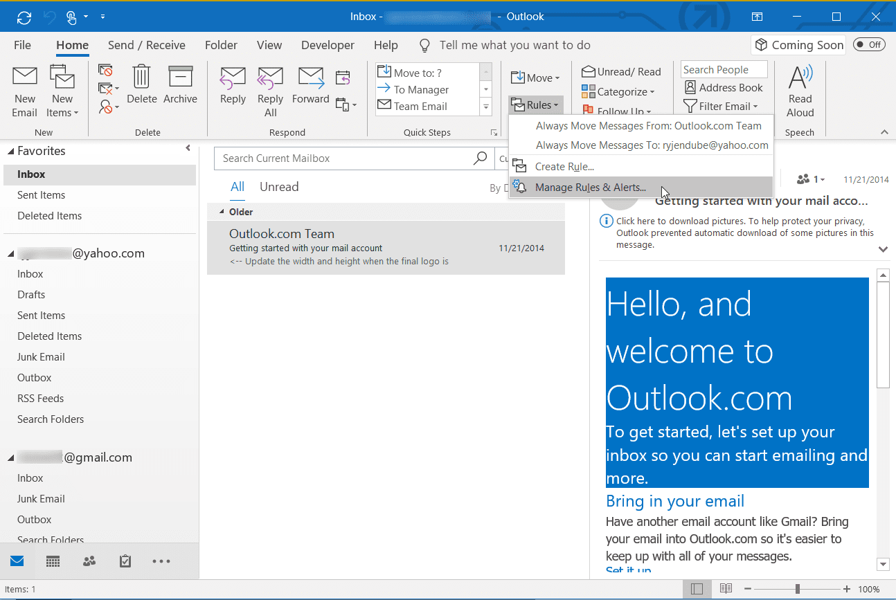 Screenshot of selecting Manage Rules & Alerts in Outlook