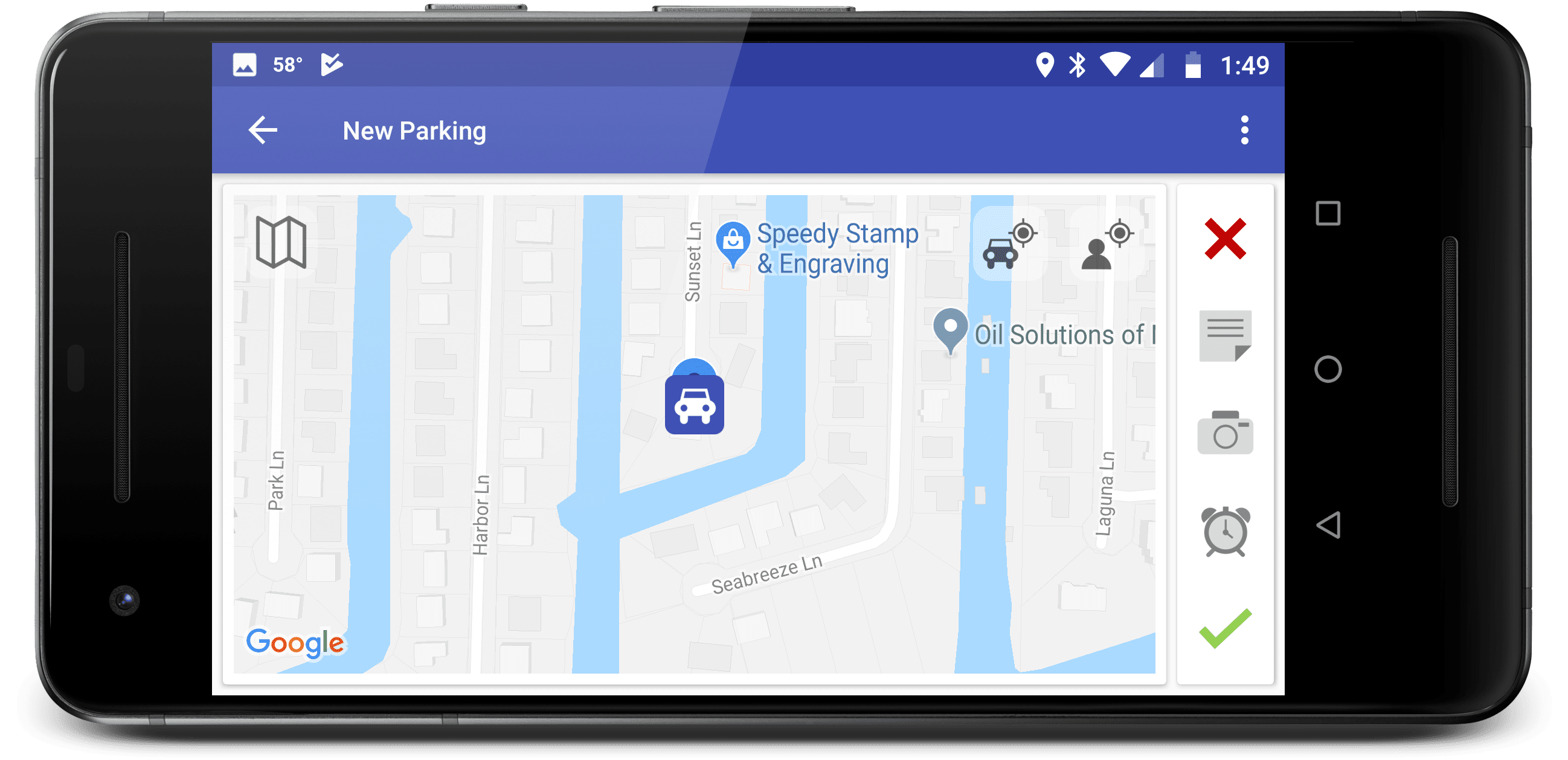 The ParKing app displayed on a phone