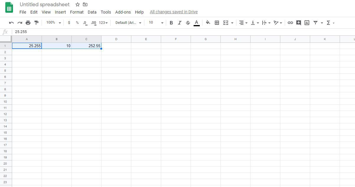 Sample data in cells in Google Sheets