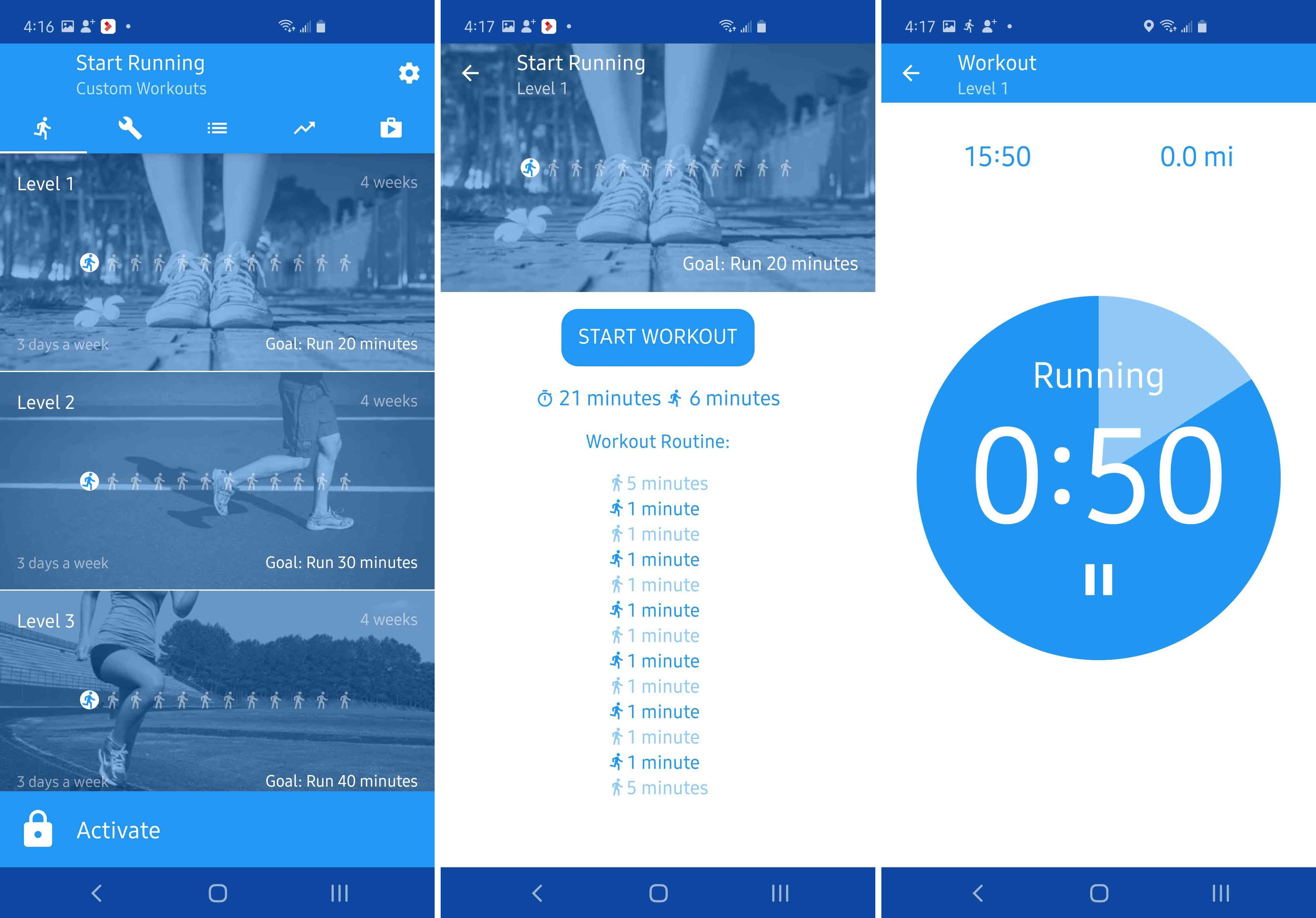 Three views of the Start Running app