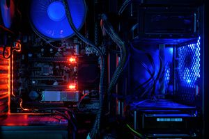 Computer Hardware with RGB and red LEDs