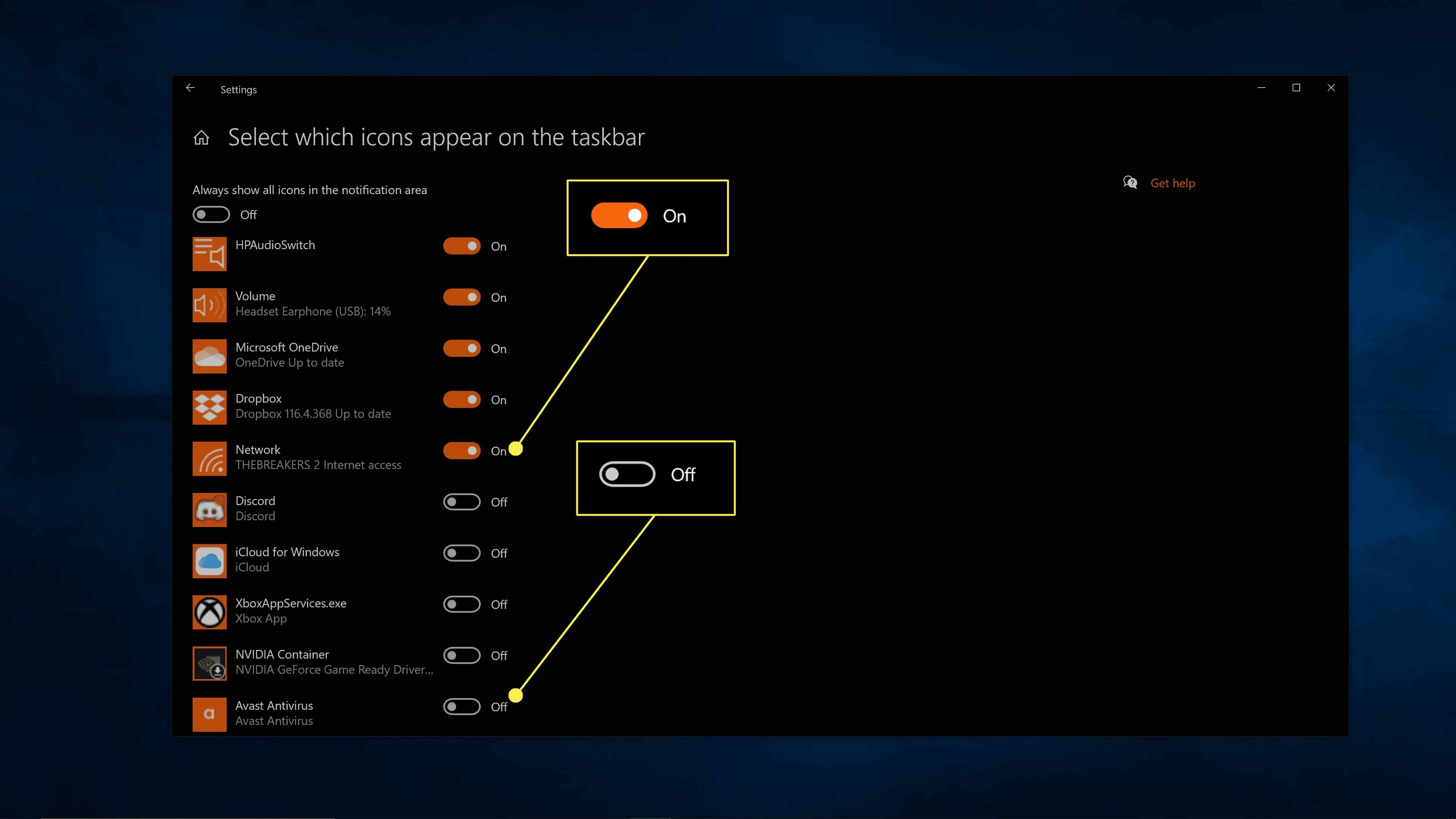 Turning Windows 10 system icons on and off.