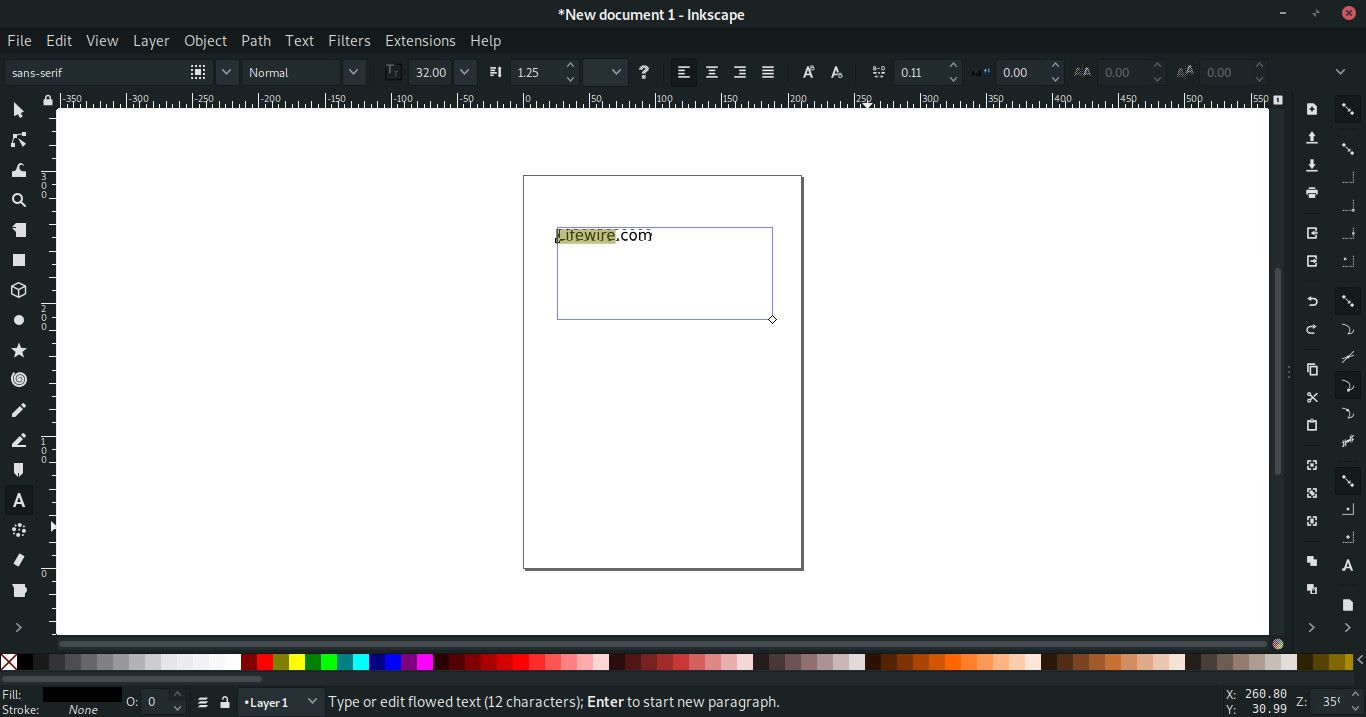 Increment letter spacing in Inkscape