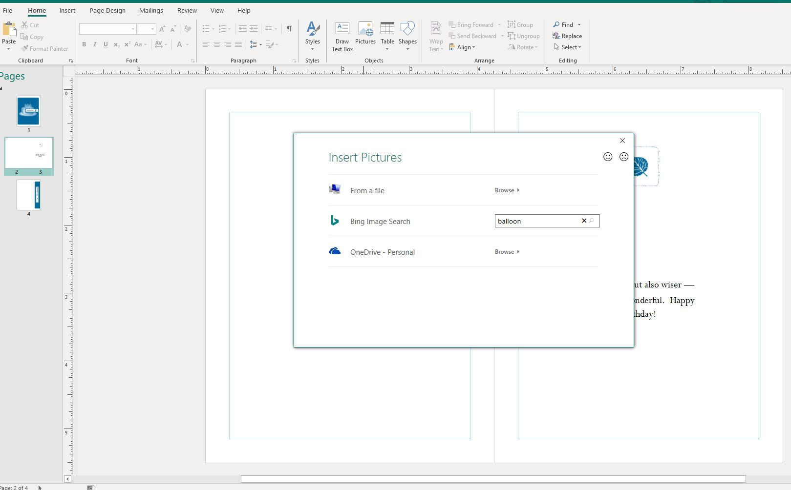 Insert Pictures prompt in Publisher