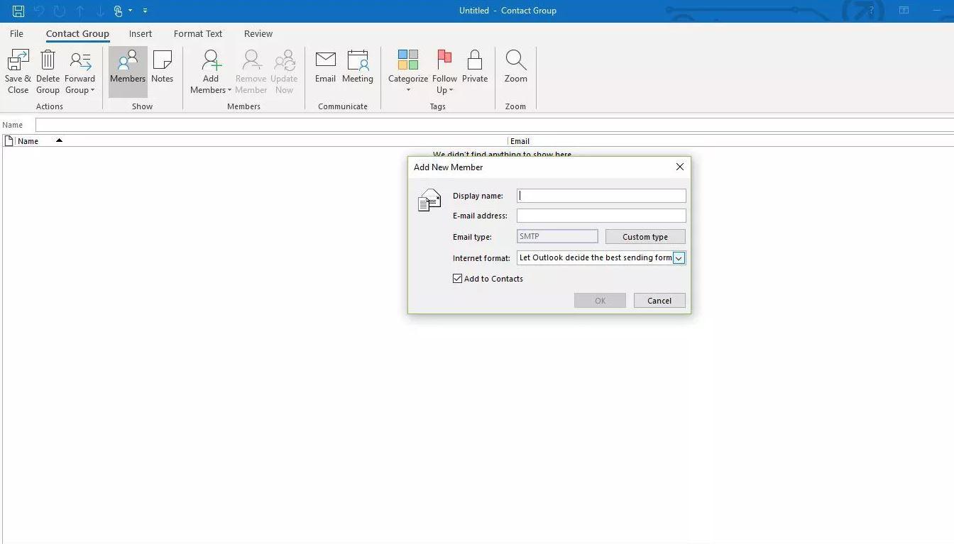Screenshot of adding member to distribution list