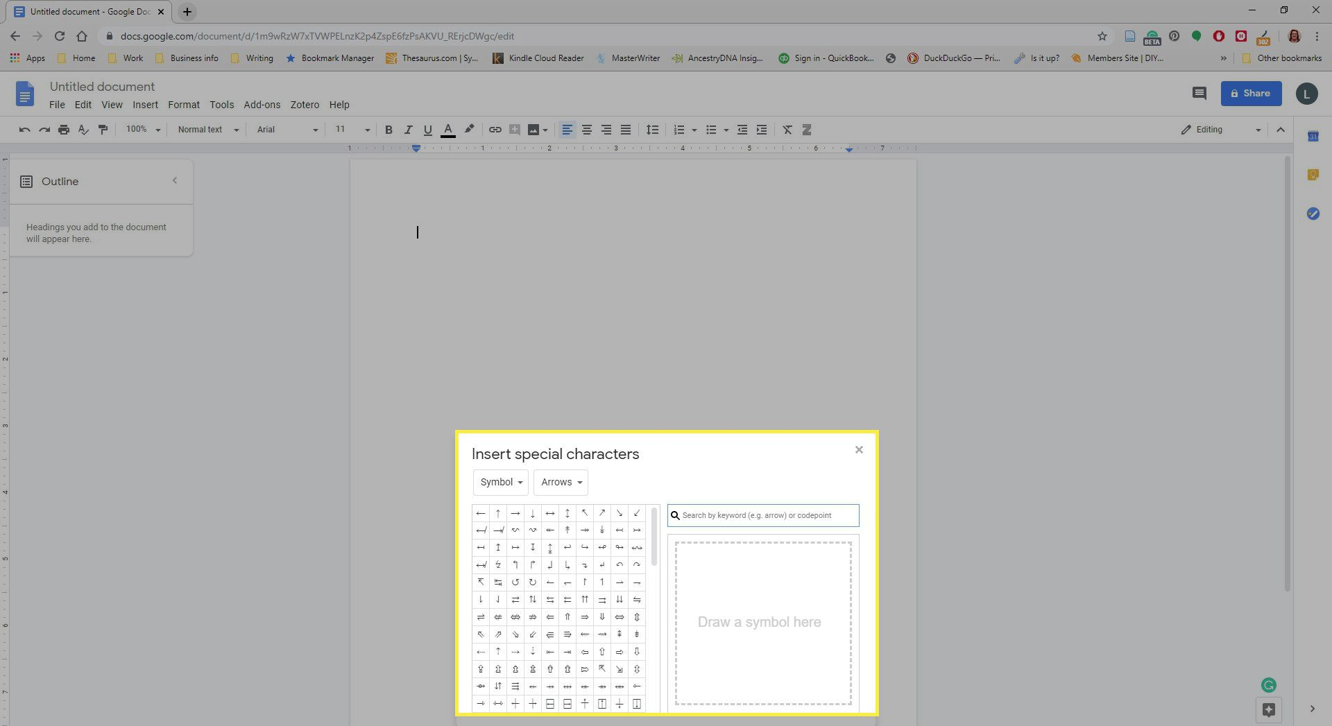 Special Characters Menu in Google Docs