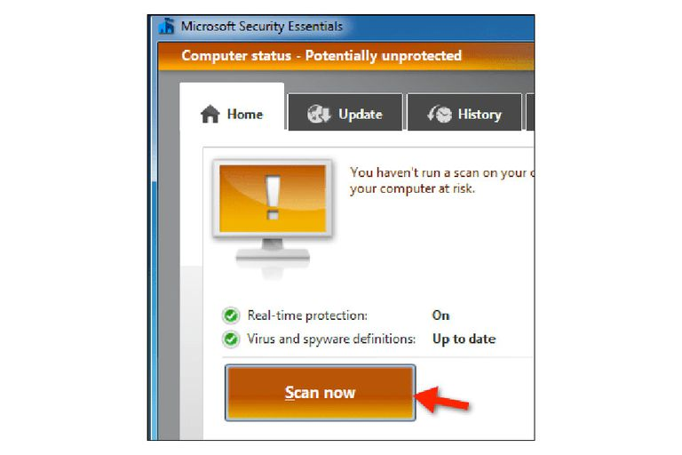 Security Essentials virus scan screenshot