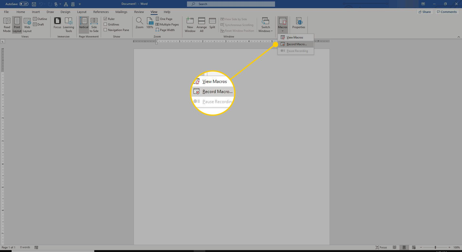 Record Macro command in Word