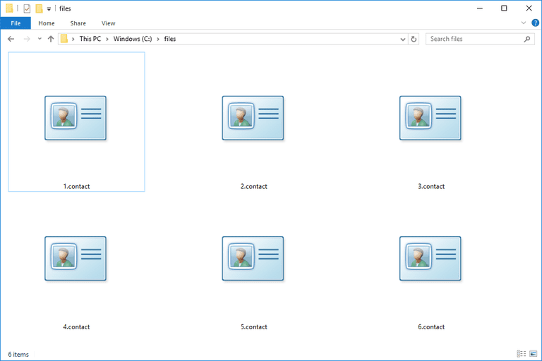 Screenshot of several CONTACT files