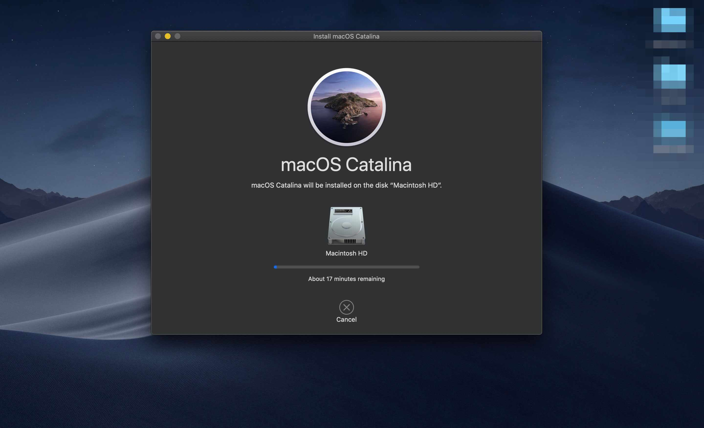 The Install macOS Catalina app performing an upgrade