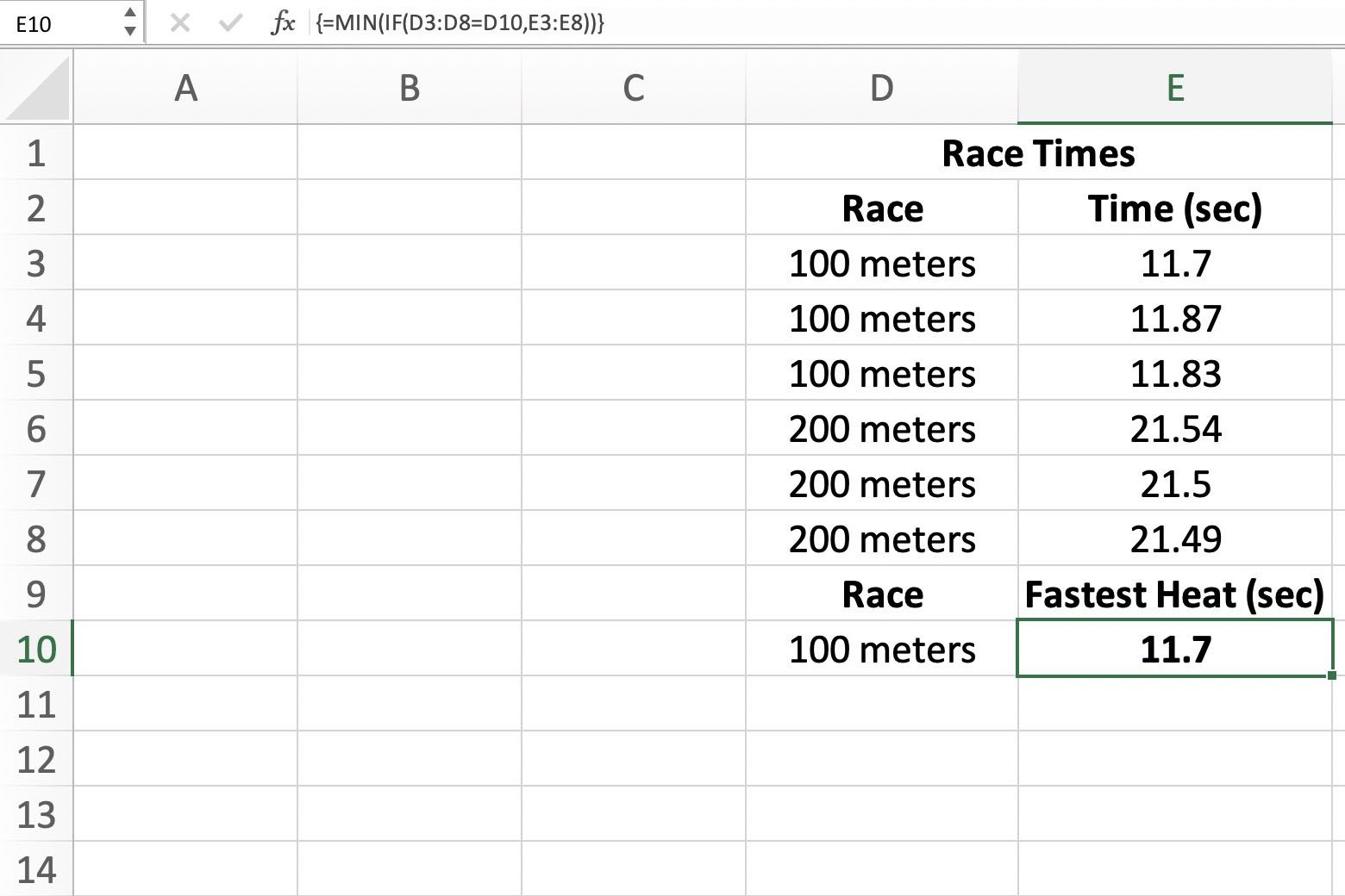 Screenshot of Excel showing how to find the smallest number