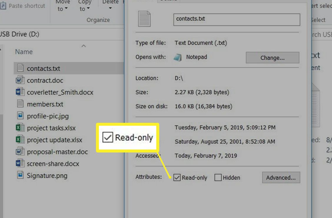 Read-only attribute box in Windows