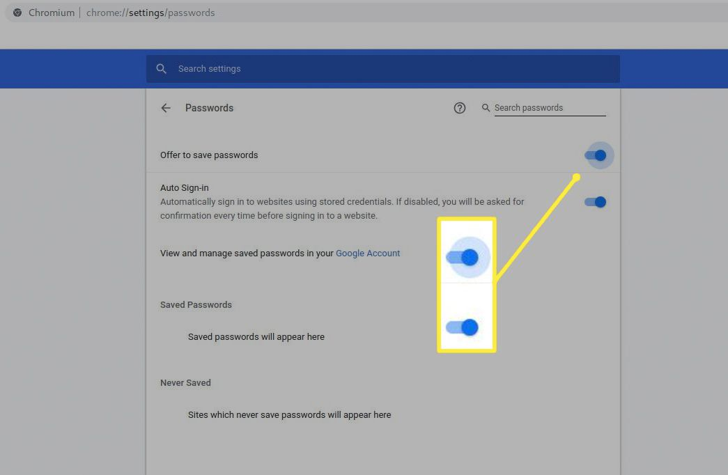 Save passwords and Auto Sign-in toggle buttons in Chrome Settings