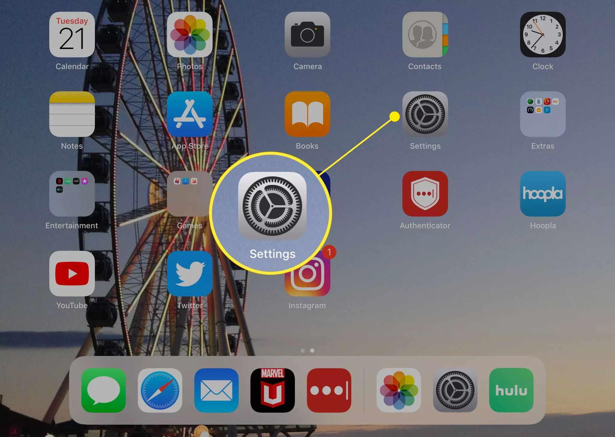 The Settings app on the iPad home screen