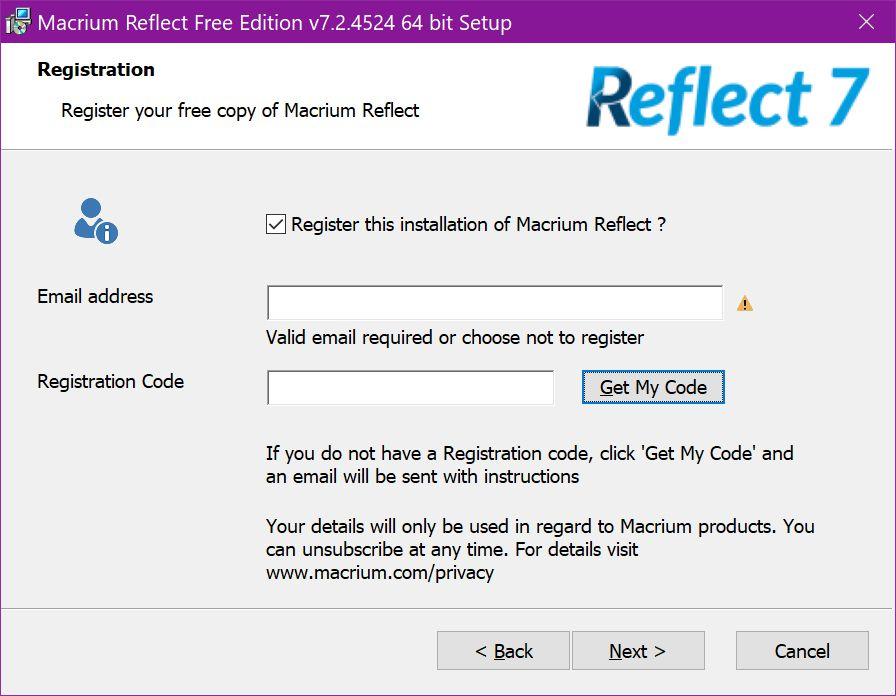 Macrium Reflect Free Edition Registration